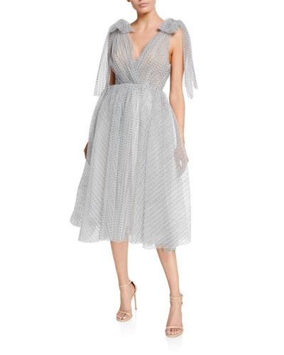 Polka Dot V-Neck Bow-Trim Gown