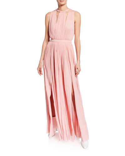 Grecian High-Neck Jersey Gown