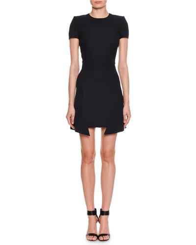 Crewneck Step-Hem Mini Dress