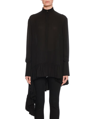 Oversized Asymmetric Draped Silk Blouse