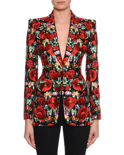 Floral-Embroidered Blazer