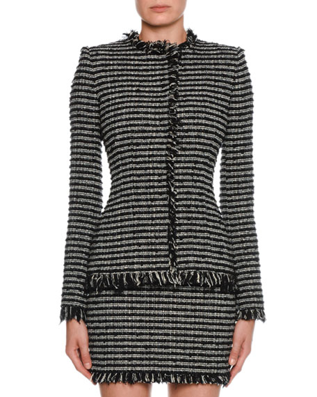 Alexander McQueen Tweed Striped Crewneck Jacket