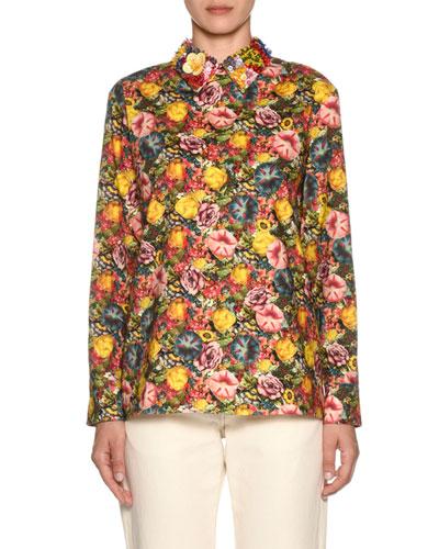 Embellished-Collar Long-Sleeve Zip-Back Floral-Print Blouse