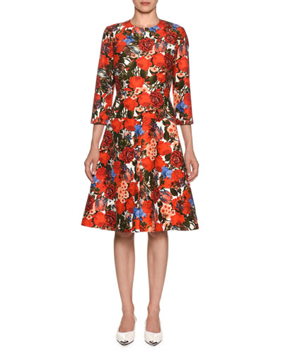 Bracelet-Sleeve Floral-Print Cotton Cady Dress