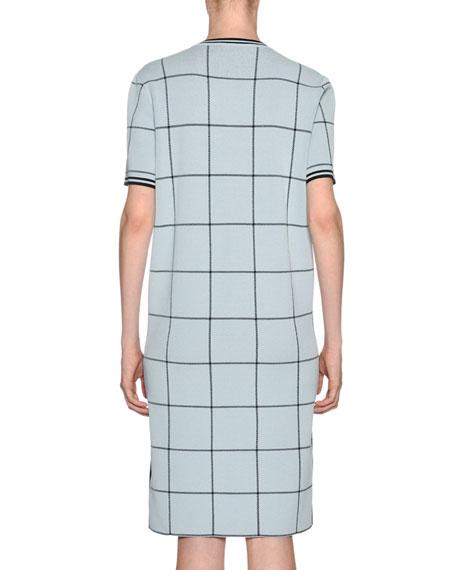 Windowpane-Jacquard Short-Sleeve Shift Dress