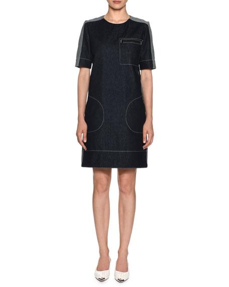 Short-Sleeve Denim Shift Dress w/ Stitch Detailing