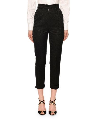 Kate High-Rise Ornamental-Jacquard Pants