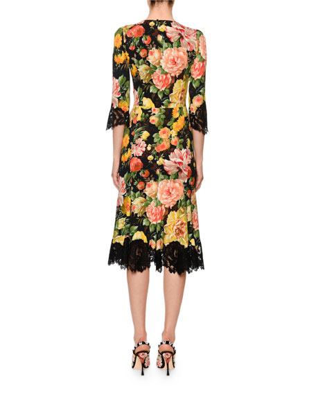 Lace-Trim Half-Sleeve Floral-Print Cady Midi Dress