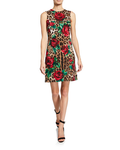a0eea545c07 Leopard Print and Rose Sleeveless Dress Quick Look. Dolce   Gabbana