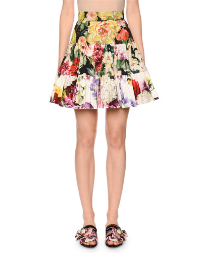 Tiered Floral-Patchwork Poplin Flare Skirt
