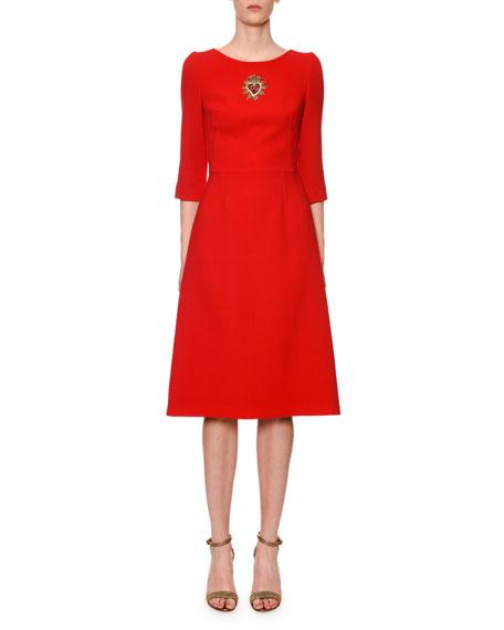 eedda7e5dcd Dolce   Gabbana 3 4-Sleeve Sacred Heart-Patch Wool-Crepe Midi