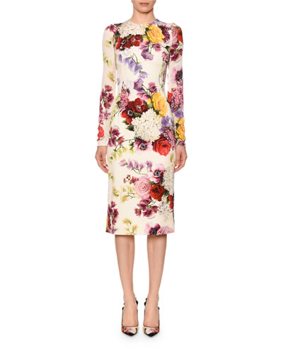 Long-Sleeve Floral-Print Charmeuse Sheath Dress Quick Look. Dolce   Gabbana 901becf47