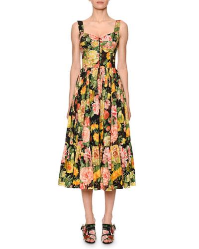 Floral-Print Cotton Sweetheart Midi Dress
