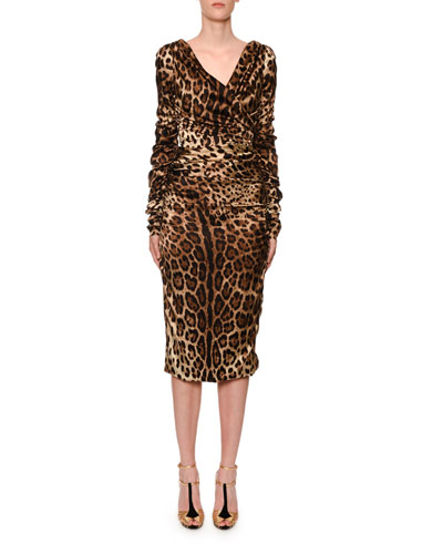 734cf1006 Long-Sleeve Ruched V-Neck Leopard-Print Dress Quick Look. Dolce   Gabbana