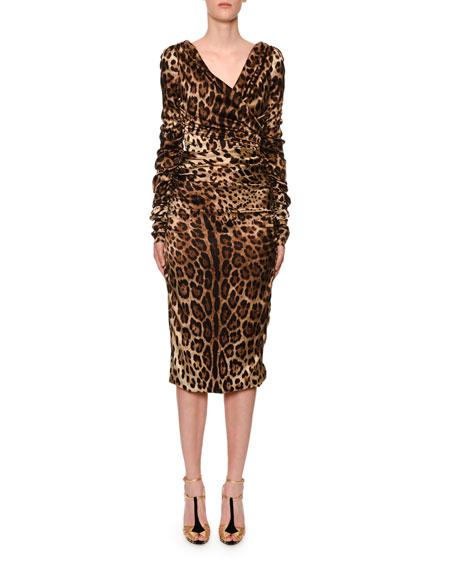 Long-Sleeve Ruched V-Neck Leopard-Print Dress