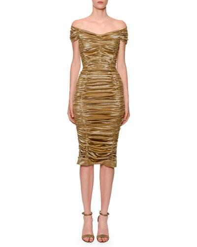 Off-The-Shoulder Ruched Metallic Satin Dress
