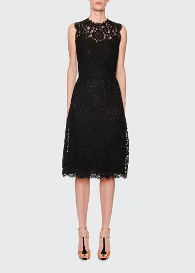 Sleeveless Cordonetto-Lace Illusion Midi Dress
