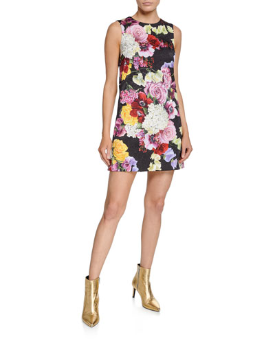 Sleeveless Multi-Floral Brocade Dress