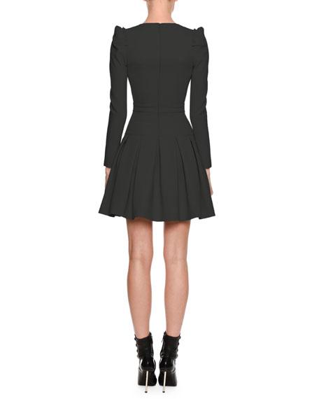 V-Neck Ruffle-Shoulder Mini Dress