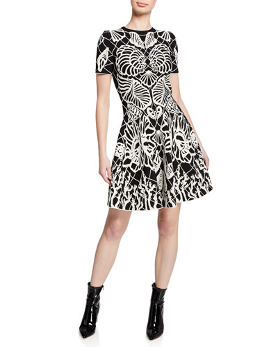 Shell-Print Short-Sleeve Fit-and-Flare Knit Dress