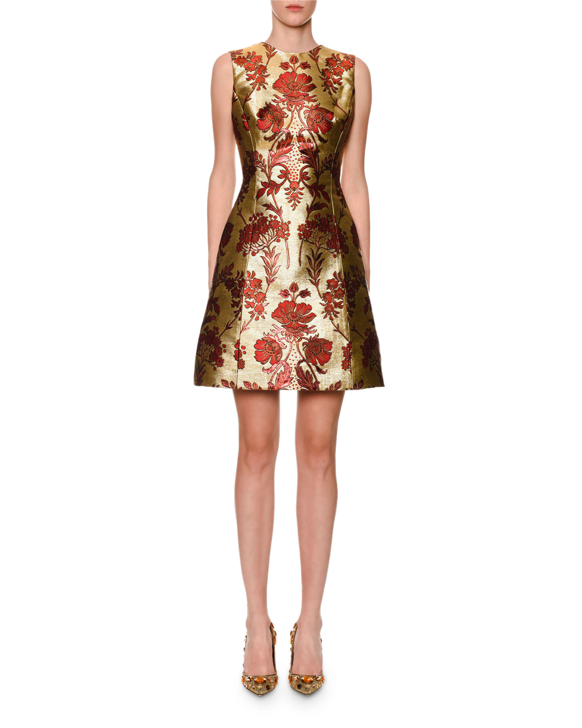 Dolce & Gabbana Sleeveless Metallic Floral-Jacquard A-Line Dress - what to wear to a new year's party