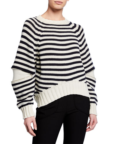 Zip-Elbow Striped Wool Sweater