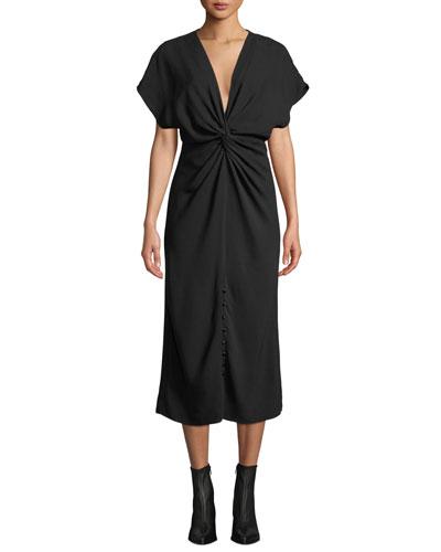 Cap-Sleeve Twisted-Front Cady Midi Dress