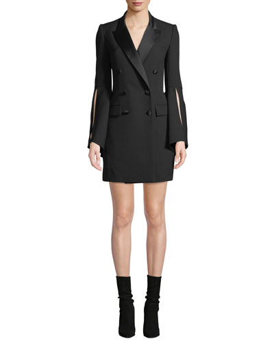 Slit-Sleeve Double-Breasted Tux Dress