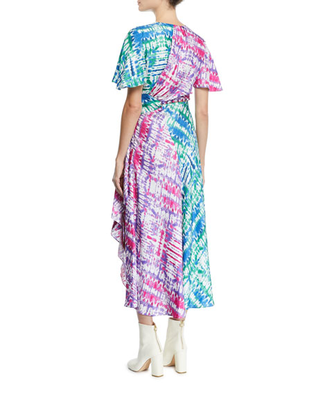 Wrapped Tie-Dye Cutout Midi Dress