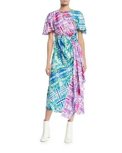 Wrapped Tie-Dye Cutout Midi Dress