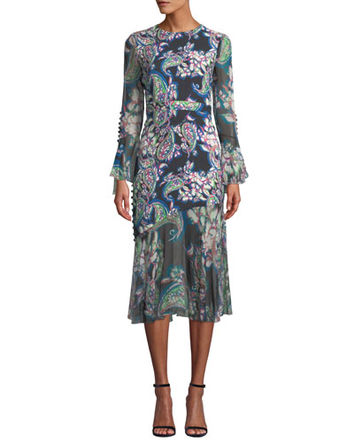 Floral-Print Sheer-Sleeve Midi Dress