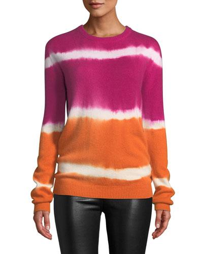 Tie-Dye Striped Cashmere Sweater, Pink/Orange