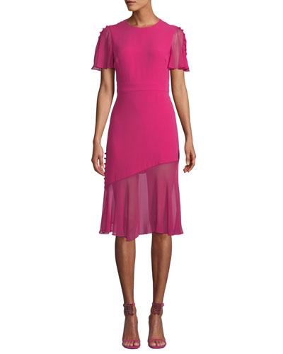 Victoria Fluttered Sheer-Sleeve Midi Dress