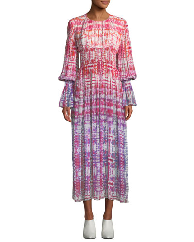 Long-Sleeve Smocked-Waist Tie-Dye Silk Midi Dress