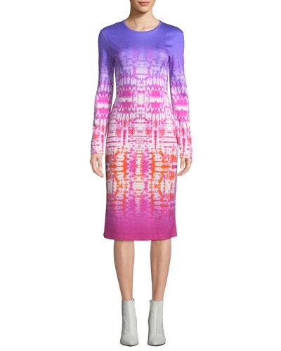 Long-Sleeve Tie-Dye Bodycon Dress