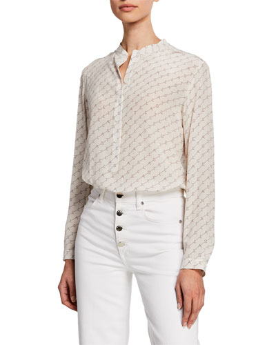 Monogram-Print Long-Sleeve Collarless Blouse