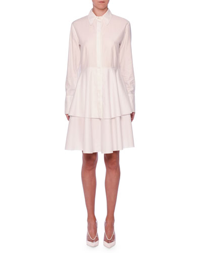 Tiered-Skirt Long-Sleeve Cotton Shirtdress