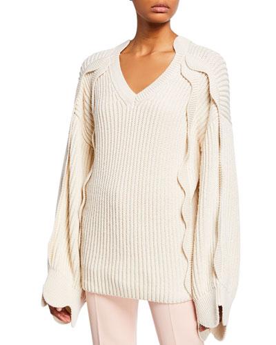 f3449299a6e0ec Promotion Chunky Scalloped-Sleeve Sweater