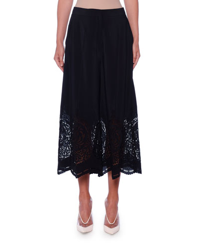 Laser-Cut Silk Wide-Leg Crop Trousers