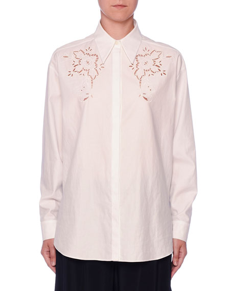 Eyelet-Embroidered Cotton Button-Front Blouse