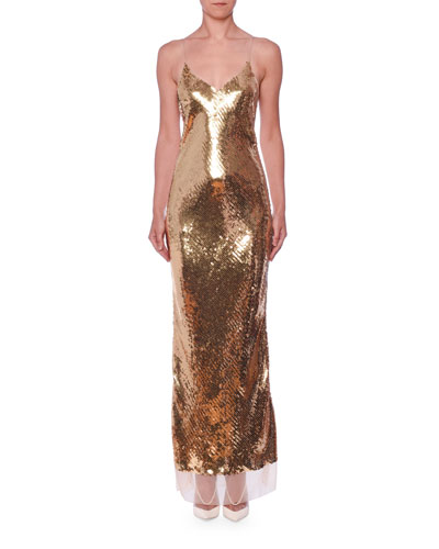 Strappy Sequined Mesh-Hem Gown