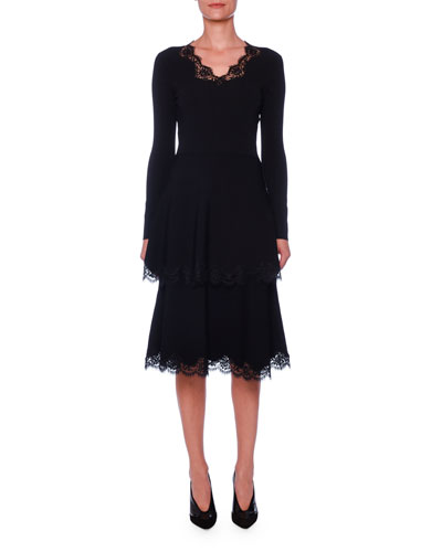 Long-Sleeve Lace-Trimmed Tiered Dress