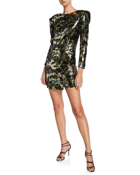 Dundas Sequined Camouflage Mini Dress