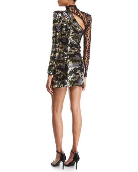 Lace-Trim Long-Sleeve Sequined Camo Illusion Mini Dress