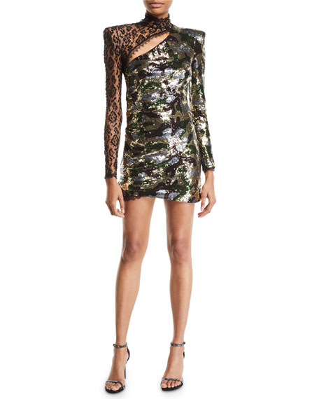Dundas Lace-Trim Long-Sleeve Sequined Camo Illusion Mini Dress