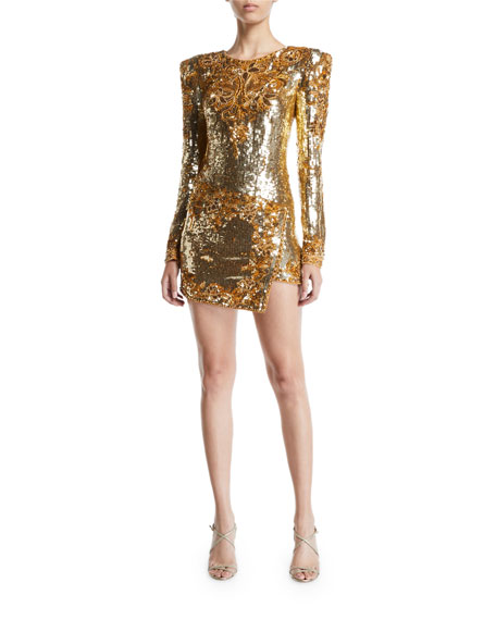 Dundas Long-Sleeve Embroidered Sequin Mini Dress