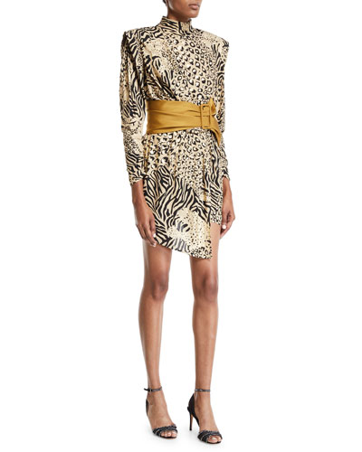 3/4-Sleeve High-Neck Animal Print Dress
