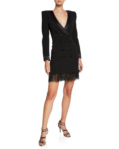 Deep-V Tuxedo Cocktail Dress