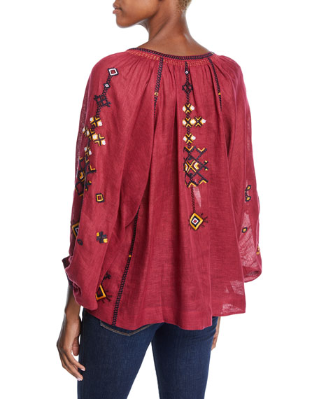 3/4-Sleeve Oxo Stitch Peasant Blouse