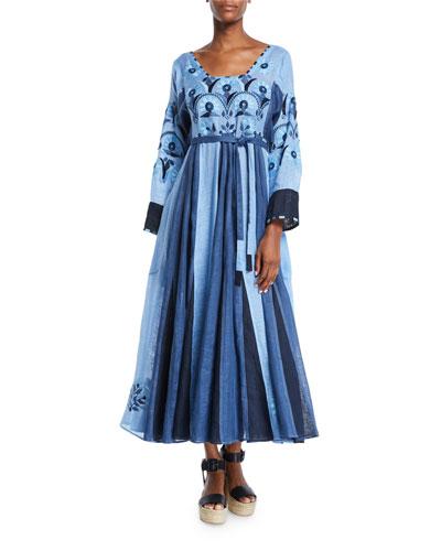 Striped Embroidered Scoop-Neck Midi Peasant Dress